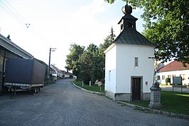 Center of Dolní Heřmanice with chapel of Divine Mercy and Saint Faustina in Dolní Heřmanice, Žďár nad Sázavou District.JPG
