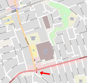 World Cup Sculpture - Location of the statue, in relation to Upton Park station and the Boleyn Ground