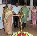Chandresh Kumari Katoch lighting the lamp to inaugurate the exhibition of Painting, Sculptures and Prints 'Ragas on Canvas', at the foundation day of the Lalit Kala Akademi, in New Delhi on August 05, 2013.jpg