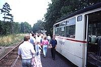 Changing trams at Boxberg, Die Thüringerwaldbahn Linie 4, Gotha Waldbahn Aug 1989 (4418173330).jpg