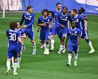 2017 FA Cup Final - Players of Chelsea celebrating a goal in semi-final match against Tottenham Hotspur