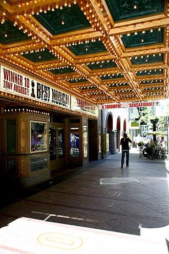 Nederlander Theatre (Chicago) - Detail beneath under the marquee during run of Billy Elliot the Musical (2010)