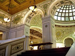 Grand Staircase and Preston Bradley Hall, with view of the Tiffany dome