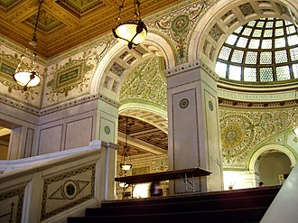 Chicago Cultural Center - Grand Staircase and Preston Bradley Hall, with view of the Tiffany dome
