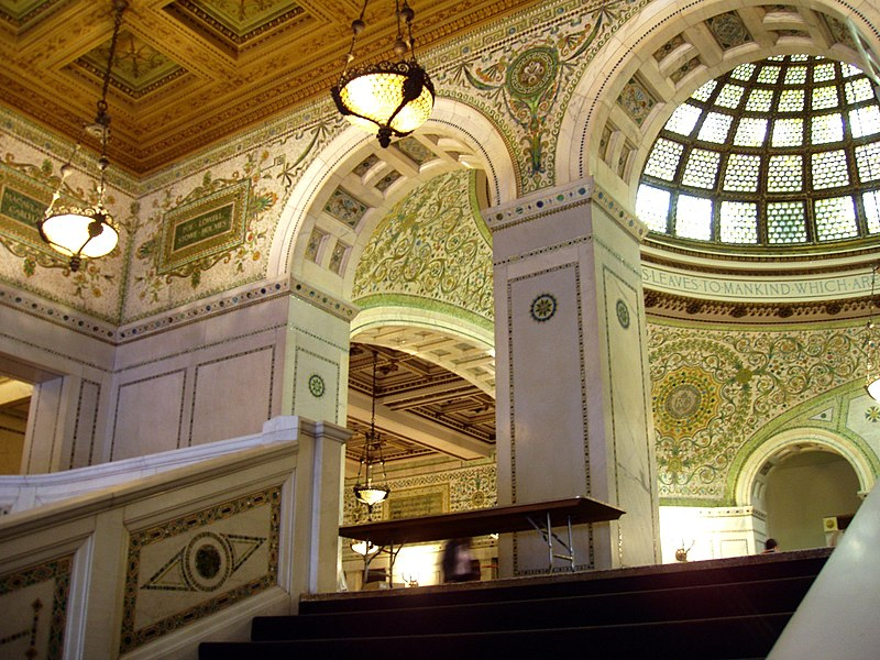 File:Chicago Cultural Center - Grand Staircase and Preston Bradley Hall.JPG