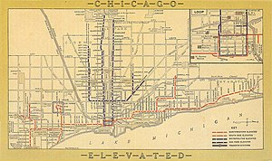 Chicago Rapid Transit Company - Image: Chicago Elevated Map 1913