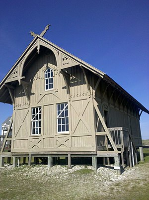 Stick style - The 1874 Chicamacomico Life-Saving Station, Rodanthe, North Carolina. Note the prominent trussing and visual use of vertical beams.