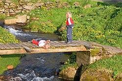 Duas crian�as olhando um rio.