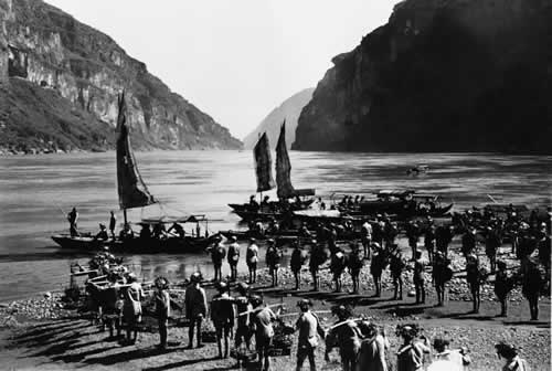 Chinese nationalist troops crossing the Three Gorges at West Hupei