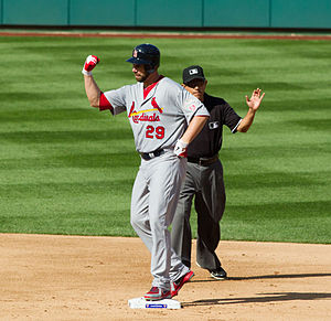 Chris Carpenter - Carpenter flexes his surgically repaired arm and shoulder while on second base in NLDS Game 3, October 10, 2012.