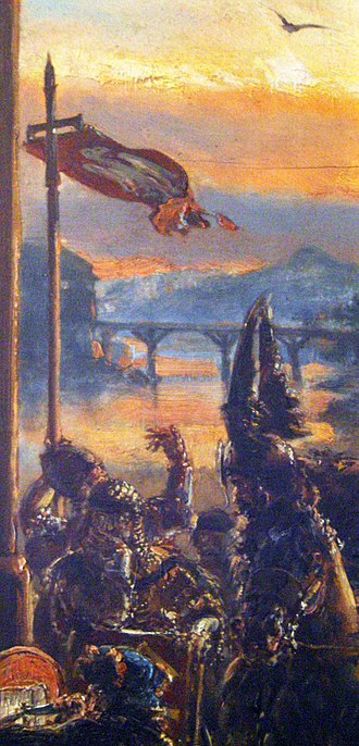 Banner of Poland - Polish vexillum in 966 as imagined by Jan Matejko in 1889