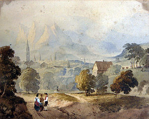 Chur - Watercolour drawing of Coire/Chur/Coira by Francis Nicholson (1753-1844).