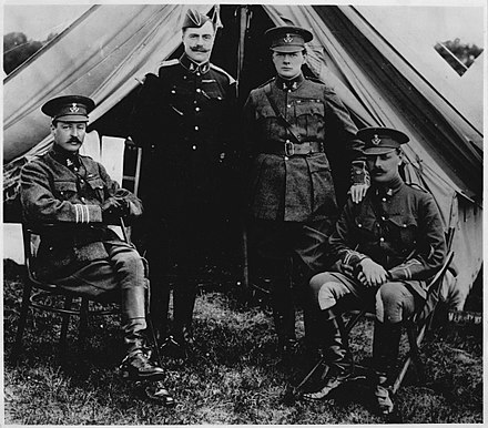 Churchill with his cousin Charles, brother John and Victor Churchill in 1914. Churchill with cousin and brother in 1914.jpg