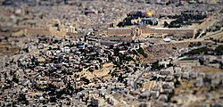 City of David, Wadi Hilweh – Palestinian village, Israeli settlement, Archaeological site – from the air.jpg