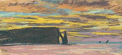 Claude Monet, Aiguille & Porte d'Aval, Etretat - Sunset (c.1883-85).jpg