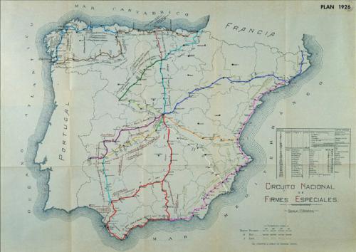 Mapa de carreteras dentro del Circuito Nacional de Firmes Especiales (1926). Wikipedia