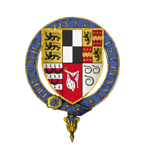 Quartered arms of Sir Nicholas Carew, KG, as described in Ashmole's Register of the Most Noble Order of the Garter -- 1st Carew, 2nd Hoo, 3rd Welles quartering Engayne, 4th Waterton, 5th Mohun of Mohuns Ottery, and 6th Idron. Coat of arms of Sir Nicholas Carew, KG.png