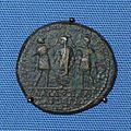 Coin showing Herod of Chalcis with brother Agrippa of Judaea crowning Roman Emperor Claudius I from the british museum.JPG