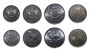 Coins of the rupiah - 100-, 200-, 500-, and 1000-rupiah coins.