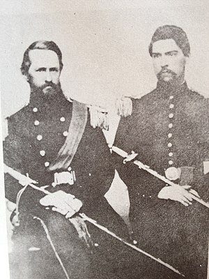 12th Virginia Infantry - Colonel D. A. Weisiger on left, with Lt. Louis Leoferick Marks in 1860. Both are wearing Virginia State Militia uniforms.