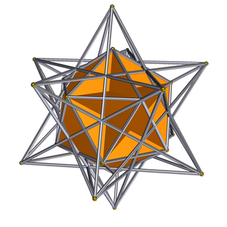 Compound of small stellated dodecahedron and great dodecahedron - Great dodecahedron shown solid, surrounding stellated dodecahedron only as wireframe