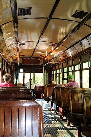 Connecticut Trolley Museum - A trolley's interior