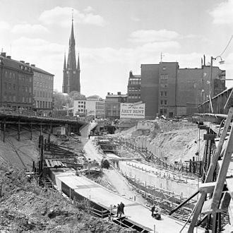 Post–World War II economic expansion - Many Western governments funded large infrastructure projects during this period. Here the redevelopment of Norrmalm and the Stockholm Metro, Sweden.