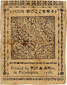 Continental Currency $4 banknote reverse (November 2, 1776).jpg