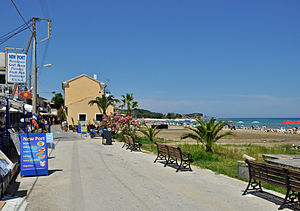 Roda, Greece - Roda: beach promenade