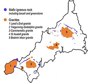 Elvan - A simplified map showing the granite batholiths and mafic igneous rocks of Cornwall