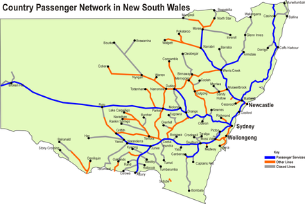 NSW TrainLink Regional Trains network (highlighted in blue) CountrylinkMap.png