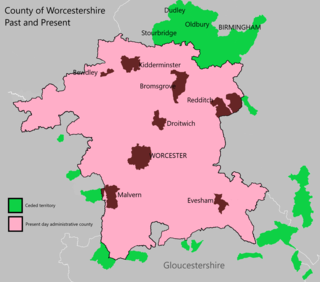 Evolution of Worcestershire county boundaries since 1844