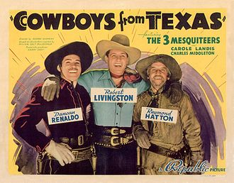 Robert Livingston (actor) - Duncan Renaldo, Robert Livingston, and Raymond Hatton in Cowboys from Texas (1939)