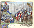 Crusaders besieging Damascus - Chronique d'Ernoul et de Bernard le Trésorier (late 15th C), f.280v - BL Royal MS 15 E I.jpg