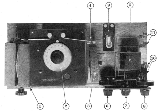 Negative resistance diode oscillator constructed by Hugo Gernsback in 1924 to Losev's instructions. The zincite point contact diode which serves as the active device is labeled (9). Crystodyne zincite oscillator - top.png