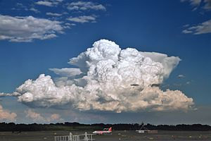 Cumulonimbus calvus, with probable cumulonimbus incus in background