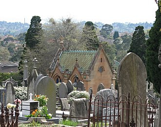 Boroondara General Cemetery - General view with the Cussen Memorial in the middle ground.