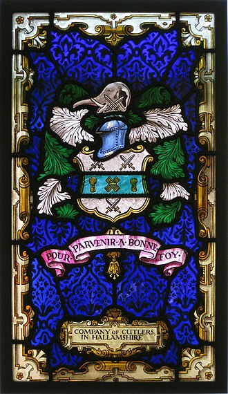Company of Cutlers in Hallamshire - Arms and Motto on Stained Glass Window in Cutlers Hall