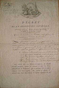 Décret de nationalisation des locaux de couvent Sainte-Cécile (1793) (Nationalization decree affecting the premises of the convent of Sainte-Cécile), Grenoble, France.jpg