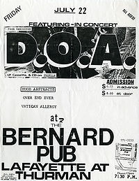 330c691a7 Concert poster of D.O.A. from 22 July 1988