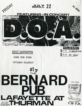Canadian hardcore punk - Concert poster of D.O.A. from 22 July 1988