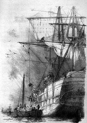 Carl Reinhardt - The Ship, Illustration by Carl Reinhardt in To America! by Friedrich Gerstäcker