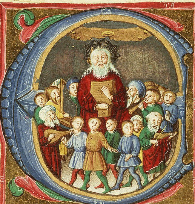 David with musicians and dancing children