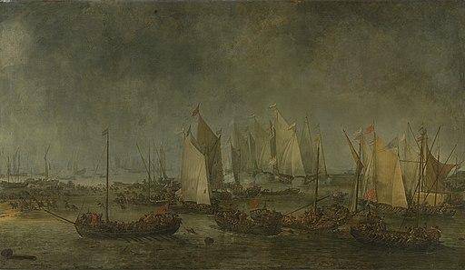 De slag op het Slaak tussen de Nederlandse en Spaanse vloten in de nacht van 12 op 13 september 1631 Rijksmuseum SK-A-454