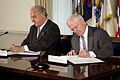 Defense.gov News Photo 100412-D-7203C-003 - Secretary of Defense Robert M. Gates and Brazilian Defense Minister Nelson Jobim sign a U.S. and Brazil Cooperation Agreement in the Pentagon on.jpg