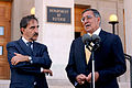 Defense.gov News Photo 111017-D-WQ296-139 - Secretary of Defense Leon E. Panetta right responds to a reporter s question during a media availability with Italian Defense Minister Ignazio La.jpg