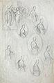 Dehodencq A. - Pencil - Etude d'une scène et d'un personnage féminin dans un médaillon - 18x29cm.jpg