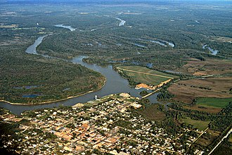 Demopolis, Alabama - Aerial view of Demopolis, Alabama. The confluence of the Tombigbee and Black Warrior Rivers is visible in the center of the picture. View is to the northwest.