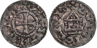 Robert II of France - Denier of Robert II the Pious, struck at Soissons