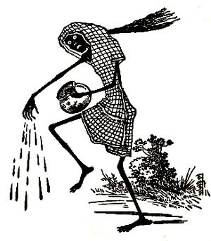 Ghosts in Bengali culture - Depiction of a Shakchunni spreading cow dung mixed water